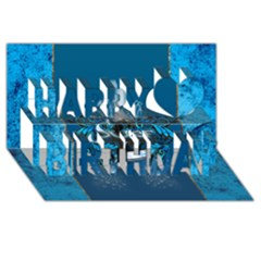 Surf, Surfboard With Water Drops On Blue Background Happy Birthday 3d Greeting Card (8x4)