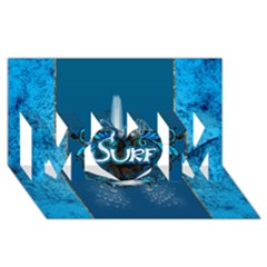 Surf, Surfboard With Water Drops On Blue Background MOM 3D Greeting Card (8x4)