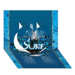 Surf, Surfboard With Water Drops On Blue Background Heart 3D Greeting Card (7x5)