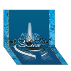 Surf, Surfboard With Water Drops On Blue Background Heart Bottom 3d Greeting Card (7x5)