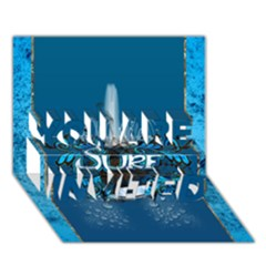 Surf, Surfboard With Water Drops On Blue Background YOU ARE INVITED 3D Greeting Card (7x5)