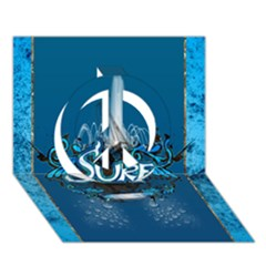 Surf, Surfboard With Water Drops On Blue Background Peace Sign 3D Greeting Card (7x5)