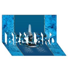 Surf, Surfboard With Water Drops On Blue Background BEST BRO 3D Greeting Card (8x4)