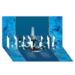 Surf, Surfboard With Water Drops On Blue Background BEST SIS 3D Greeting Card (8x4)