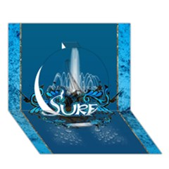 Surf, Surfboard With Water Drops On Blue Background Circle 3D Greeting Card (7x5)