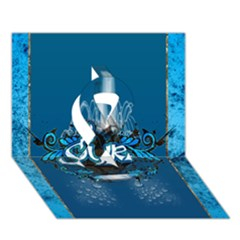 Surf, Surfboard With Water Drops On Blue Background Ribbon 3D Greeting Card (7x5)