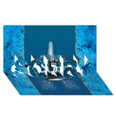Surf, Surfboard With Water Drops On Blue Background SORRY 3D Greeting Card (8x4)