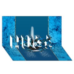 Surf, Surfboard With Water Drops On Blue Background Hugs 3d Greeting Card (8x4)