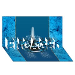 Surf, Surfboard With Water Drops On Blue Background ENGAGED 3D Greeting Card (8x4)