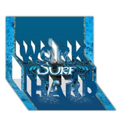 Surf, Surfboard With Water Drops On Blue Background WORK HARD 3D Greeting Card (7x5)