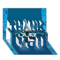 Surf, Surfboard With Water Drops On Blue Background THANK YOU 3D Greeting Card (7x5)