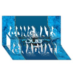 Surf, Surfboard With Water Drops On Blue Background Congrats Graduate 3D Greeting Card (8x4)
