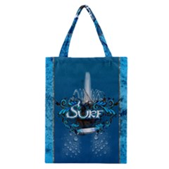 Surf, Surfboard With Water Drops On Blue Background Classic Tote Bags