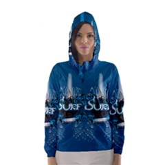 Surf, Surfboard With Water Drops On Blue Background Hooded Wind Breaker (Women)