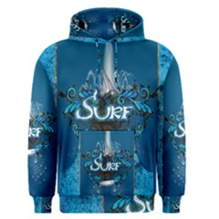 Surf, Surfboard With Water Drops On Blue Background Men s Pullover Hoodies