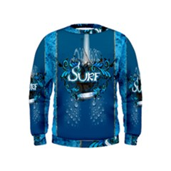 Surf, Surfboard With Water Drops On Blue Background Boys  Sweatshirts