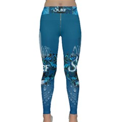 Surf, Surfboard With Water Drops On Blue Background Yoga Leggings