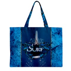Surf, Surfboard With Water Drops On Blue Background Zipper Tiny Tote Bags