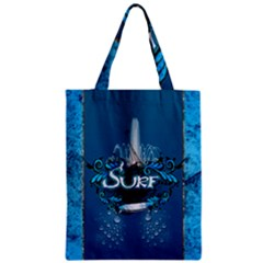 Surf, Surfboard With Water Drops On Blue Background Zipper Classic Tote Bags
