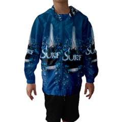 Surf, Surfboard With Water Drops On Blue Background Hooded Wind Breaker (Kids)