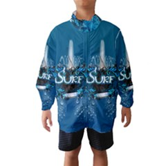 Surf, Surfboard With Water Drops On Blue Background Wind Breaker (Kids)