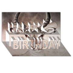 Antelope horns Happy Birthday 3D Greeting Card (8x4)