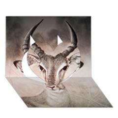 Antelope horns Heart 3D Greeting Card (7x5)