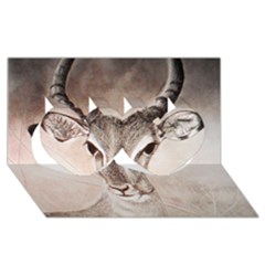 Antelope Horns Twin Hearts 3d Greeting Card (8x4)