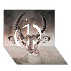 Antelope horns Peace Sign 3D Greeting Card (7x5)