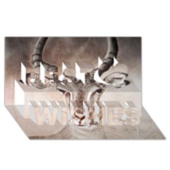 Antelope horns Best Wish 3D Greeting Card (8x4)