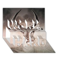 Antelope horns WORK HARD 3D Greeting Card (7x5)