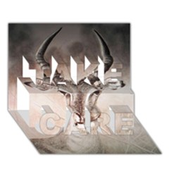 Antelope horns TAKE CARE 3D Greeting Card (7x5)