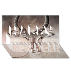 Antelope horns Happy New Year 3D Greeting Card (8x4)