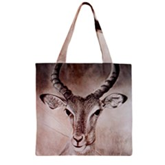 Antelope horns Zipper Grocery Tote Bags