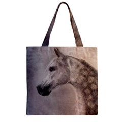 Grey Arabian Horse Zipper Grocery Tote Bags