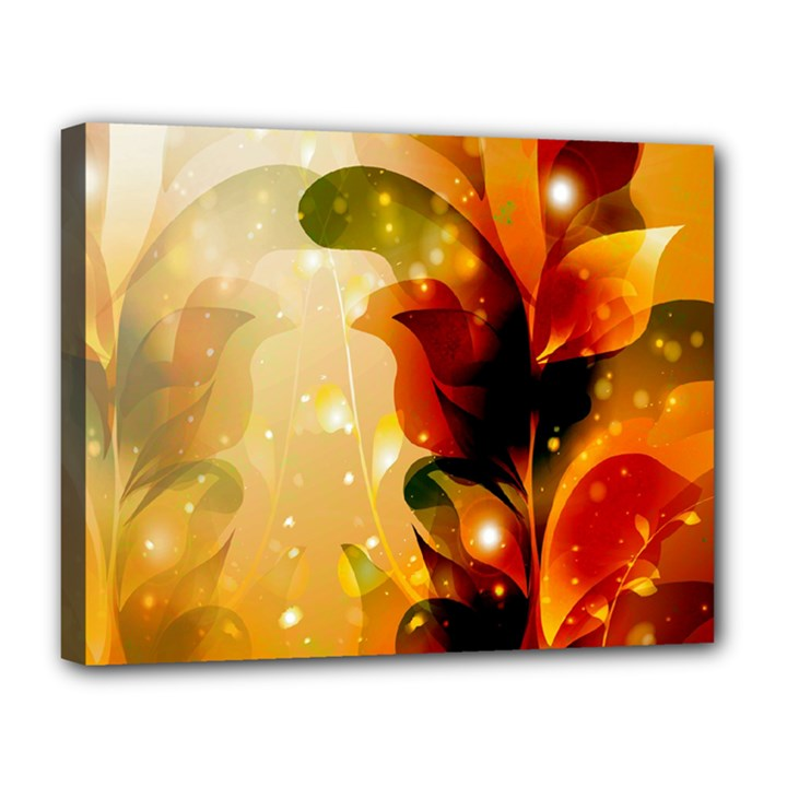 Awesome Colorful, Glowing Leaves  Canvas 14  x 11