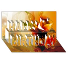 Awesome Colorful, Glowing Leaves  Happy Birthday 3D Greeting Card (8x4)