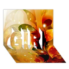 Awesome Colorful, Glowing Leaves  Girl 3d Greeting Card (7x5)
