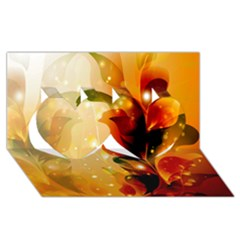 Awesome Colorful, Glowing Leaves  Twin Hearts 3D Greeting Card (8x4)