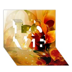 Awesome Colorful, Glowing Leaves  LOVE 3D Greeting Card (7x5)