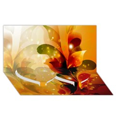 Awesome Colorful, Glowing Leaves  Twin Heart Bottom 3d Greeting Card (8x4)