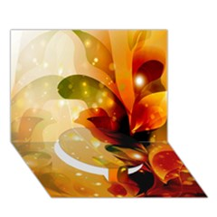 Awesome Colorful, Glowing Leaves  Circle Bottom 3D Greeting Card (7x5)