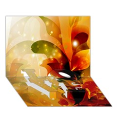 Awesome Colorful, Glowing Leaves  LOVE Bottom 3D Greeting Card (7x5)