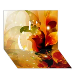 Awesome Colorful, Glowing Leaves  Apple 3D Greeting Card (7x5)