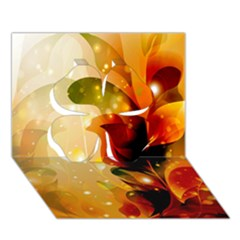 Awesome Colorful, Glowing Leaves  Clover 3D Greeting Card (7x5)
