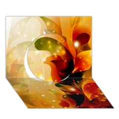 Awesome Colorful, Glowing Leaves  Circle 3D Greeting Card (7x5)