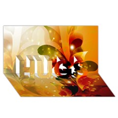 Awesome Colorful, Glowing Leaves  HUGS 3D Greeting Card (8x4)