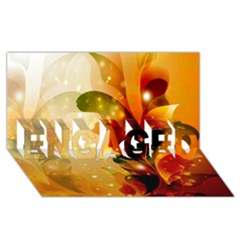 Awesome Colorful, Glowing Leaves  Engaged 3d Greeting Card (8x4)