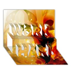 Awesome Colorful, Glowing Leaves  WORK HARD 3D Greeting Card (7x5)