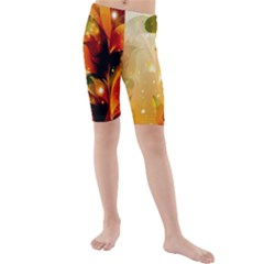 Awesome Colorful, Glowing Leaves  Kid s swimwear